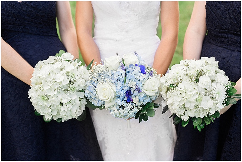 white and blue wedding flowers - rustic farm wedding