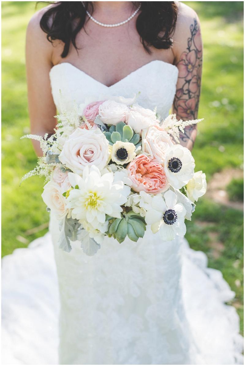 blush and white wedding bouquet