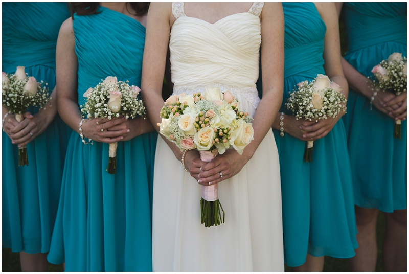 blue and black wedding attire
