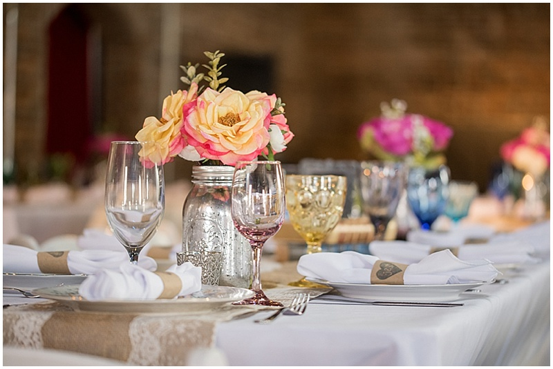 vintage reception decor with roses