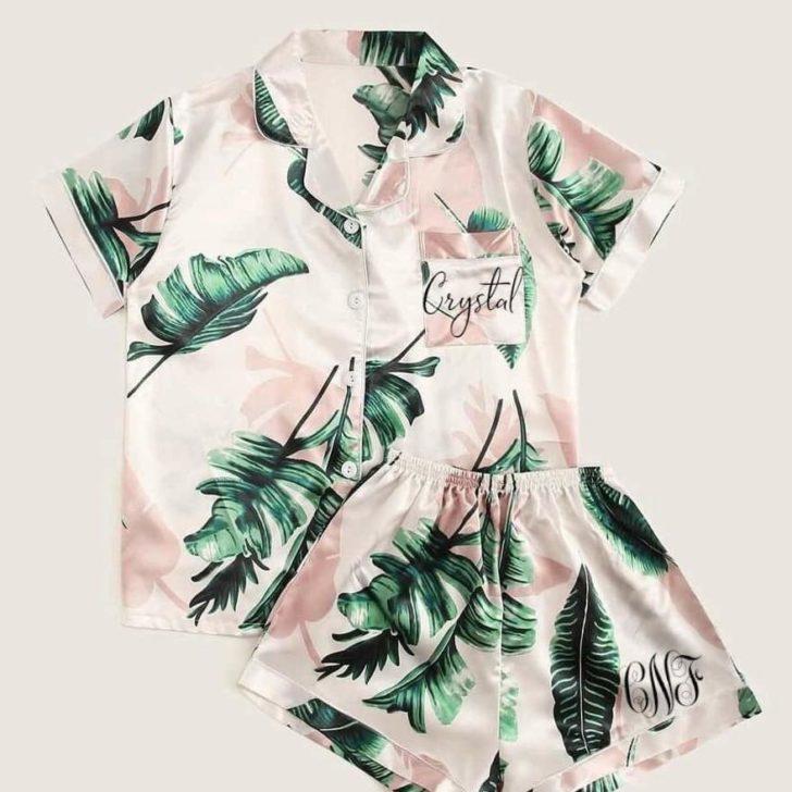 palm print silky pajamas