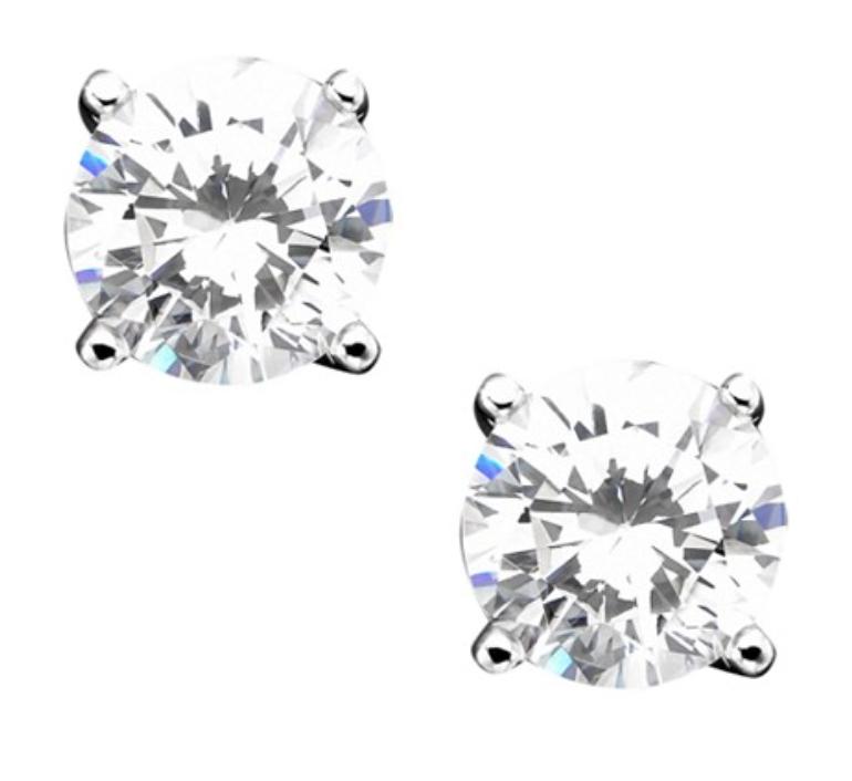 Giani Bernini Sterling Silver Earrings, Cubic Zirconia Stud (2 ct. t.w.)