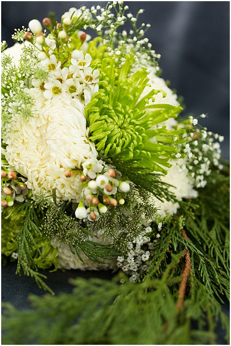 green and white winter bouquet