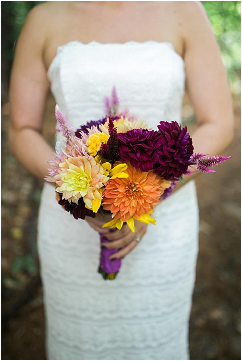 orange and purple wedding bouquet