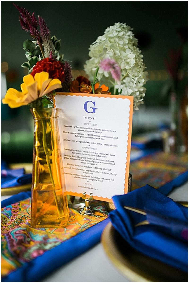 blue and orange table decor