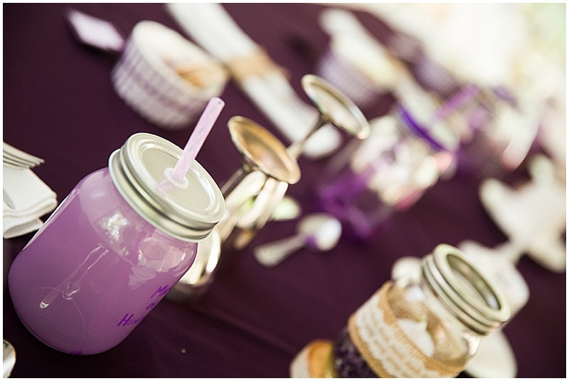 purple wedding reception details