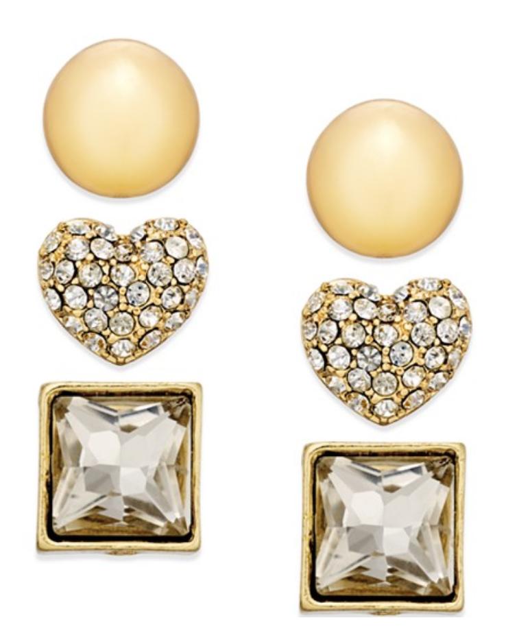 Thalia Sodi Gold-Tone Multi Shape Stud Earring Trio