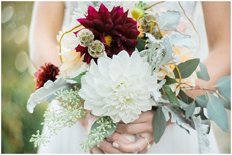 white and burgundy dahlia wedding flowers