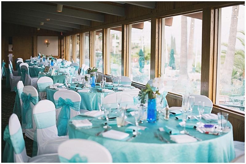 aqua and white wedding reception