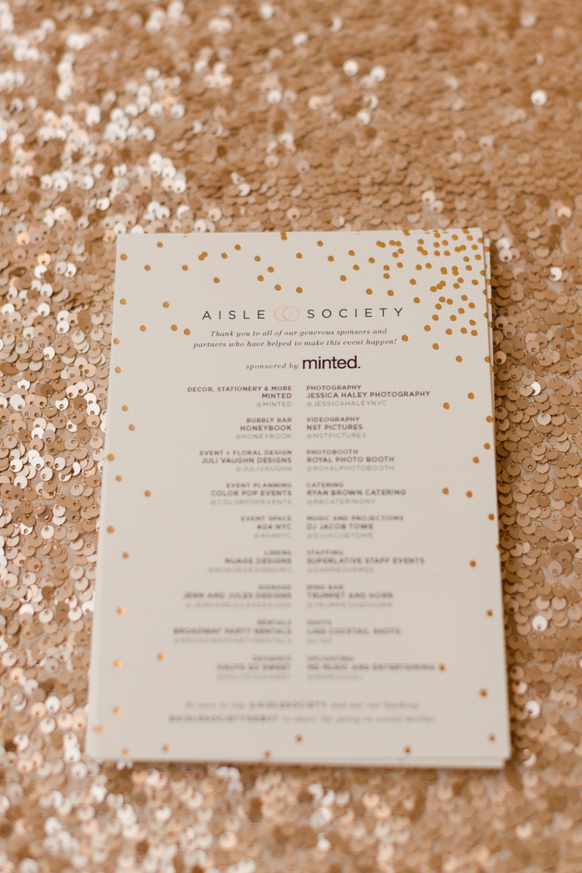 Vendor Credits - Aisle Society Debut Party - Sponsored by Minted