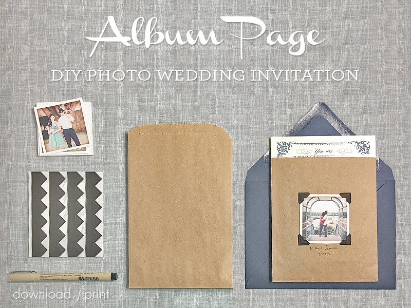 DIY Vintage Photo Album Pocket Wedding Invitation Embellishment