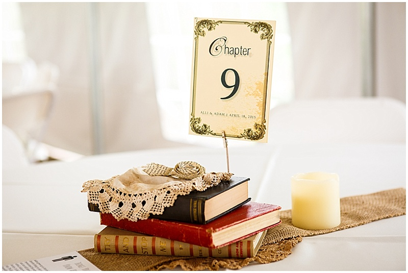 library themed wedding decor