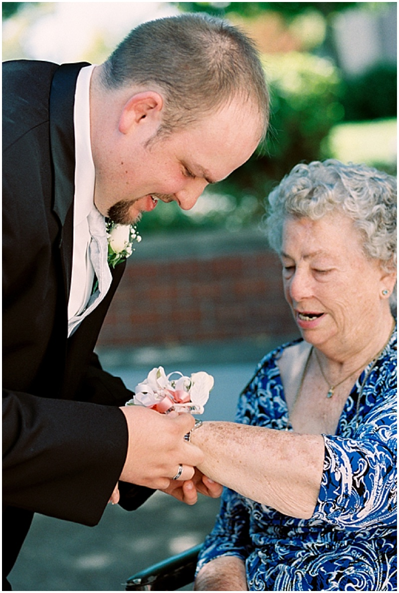 putting on corsage