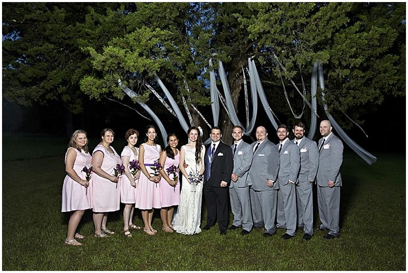 gray and pink wedding attire