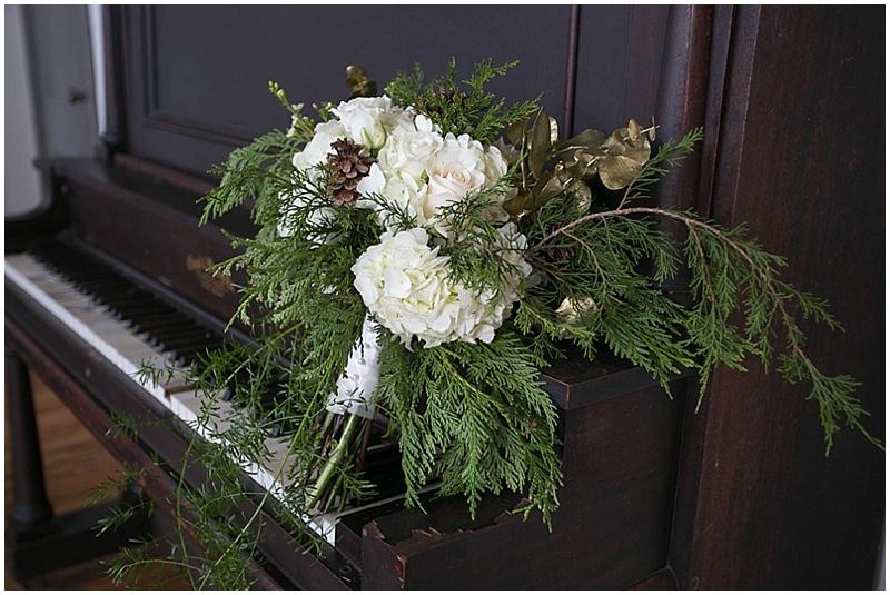 evergreen hydrangea wedding bouquet