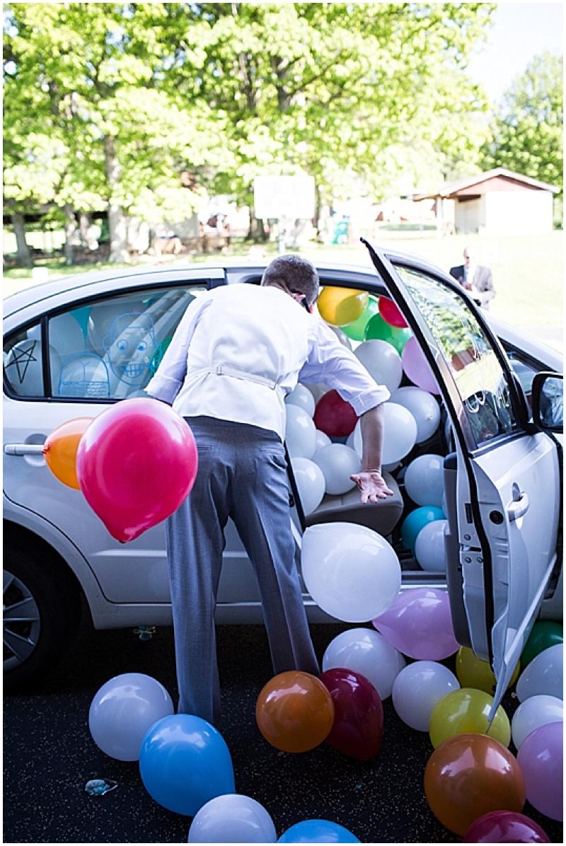 bride and groom get away