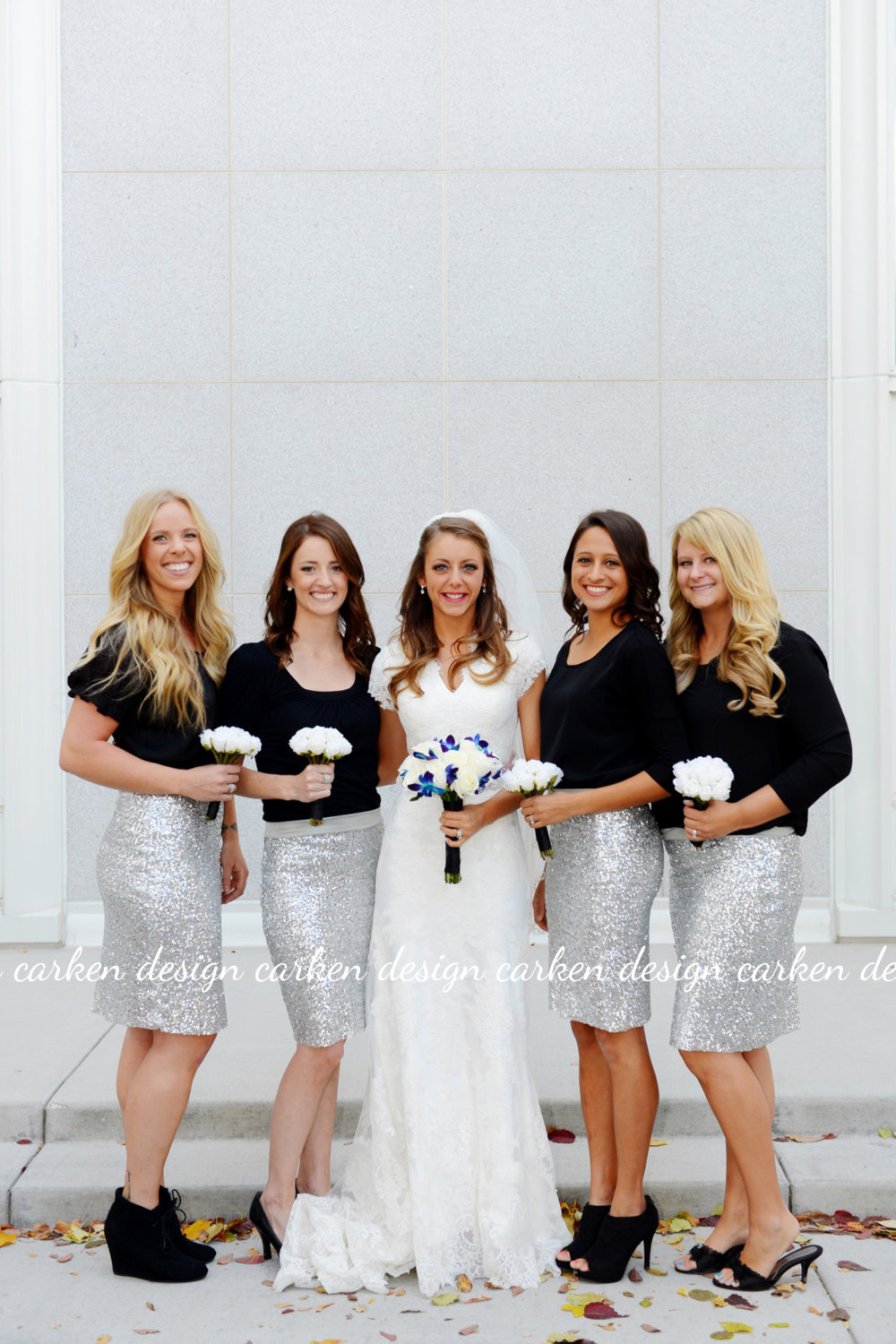 carkendesign sequin bridesmaids skirts - Bridesmaids in Skirts