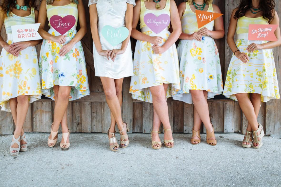 maudecouture floral bridesmaids skirts - Bridesmaids in Skirts