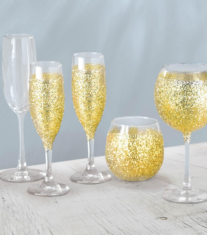 glitter wine glasses project