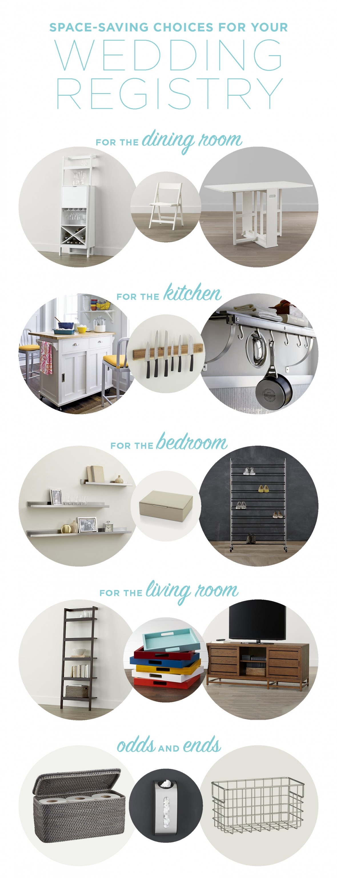 These items from Crate and Barrel are perfect for small spaces! We love the space-saving solutions -- perfect for your wedding registry!