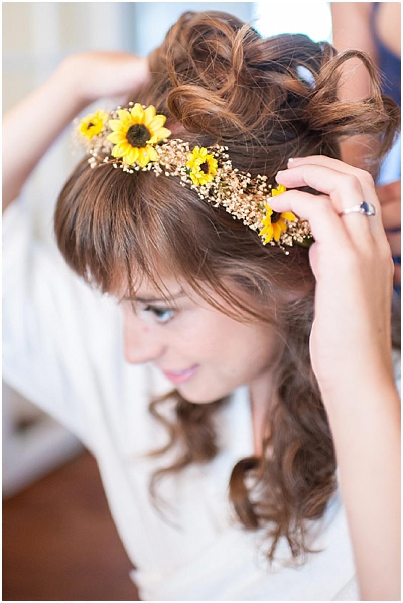 sunflower crown bridal hair