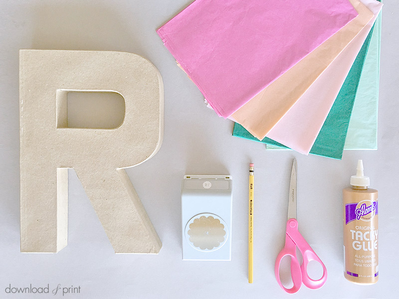 Download-and-Print-Tissue Paper Flower Letters- supplies