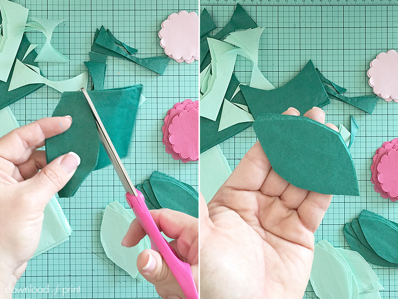 Download-and-Print-Tissue Paper Flower Letters- cutting leaves