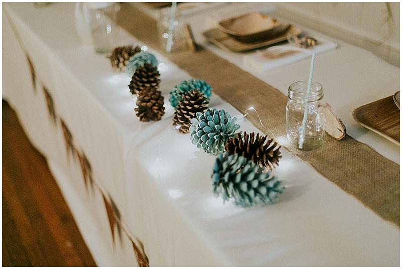 pinecone wedding decor - handmade florida wedding