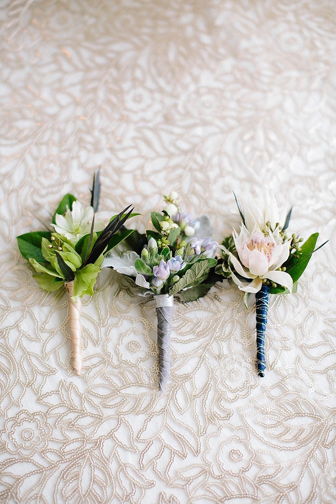 davids bridal for aisle society - boutonnieres