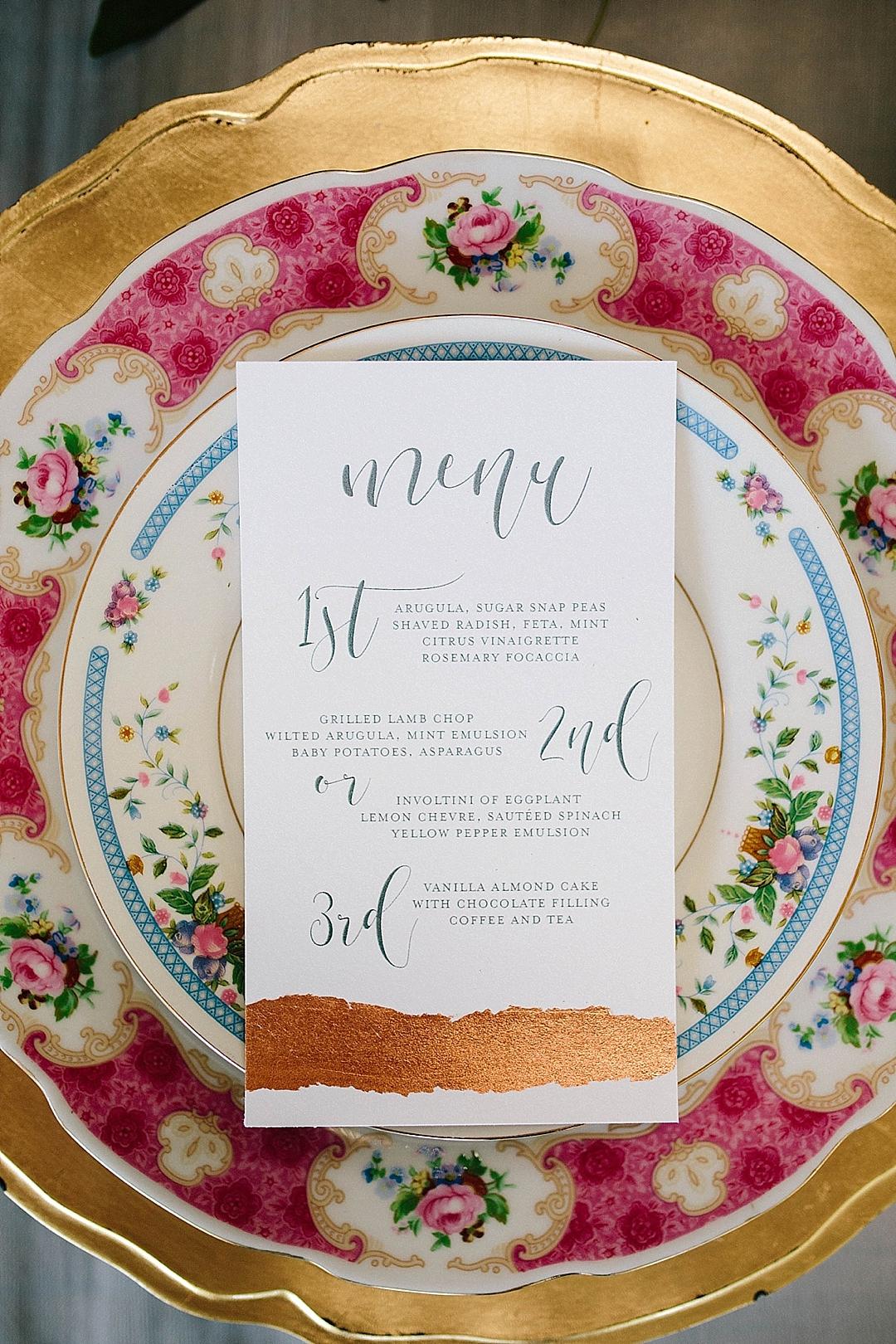 davids bridal for aisle society - menu