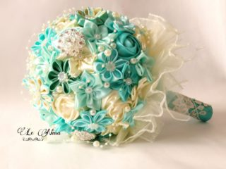 satin wedding bouquet - fabric bouquet