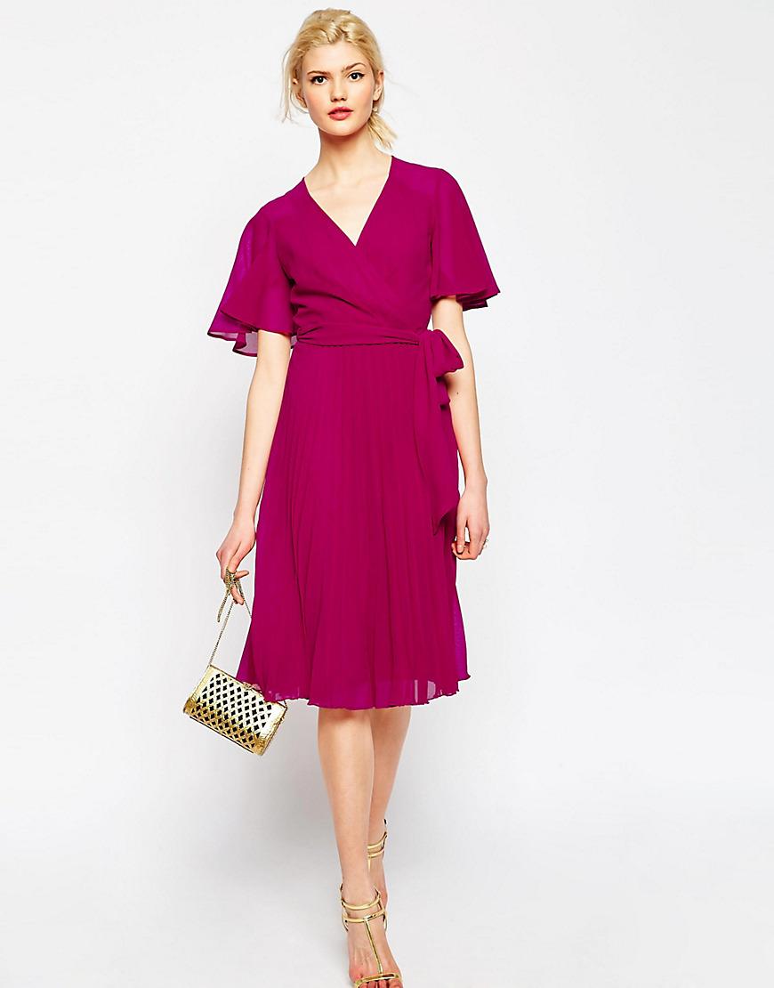 ASOS pleated wrap midi dress