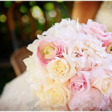 pink and white rose wedding bouquet