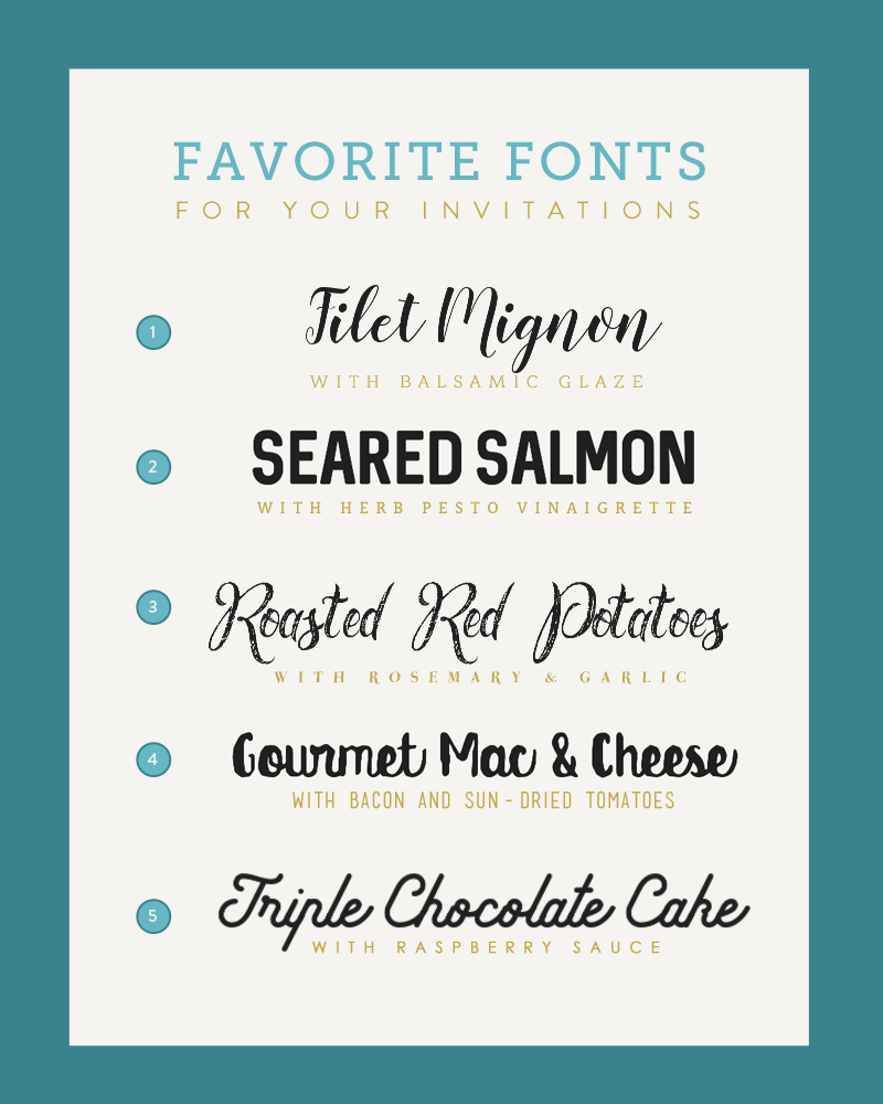 Five Font Pairings for Your Wedding Menu - The Budget Savvy Bride