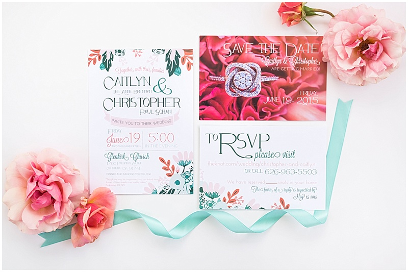 coral and turquoise invitation suite