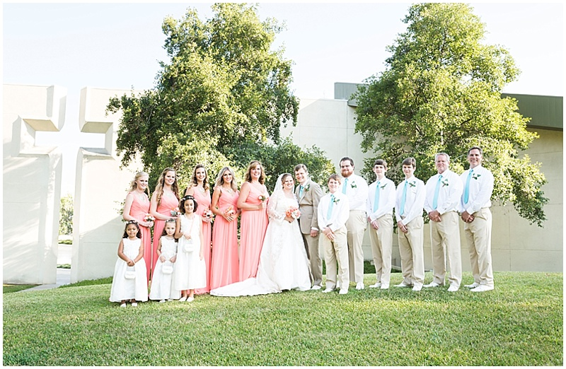 pink and khaki wedding party