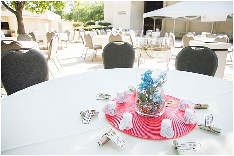 coral and turquoise reception decor