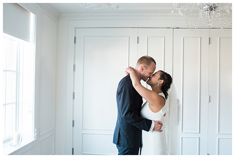 indoor wedding couple photos