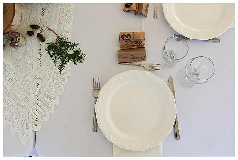white and wood table setting