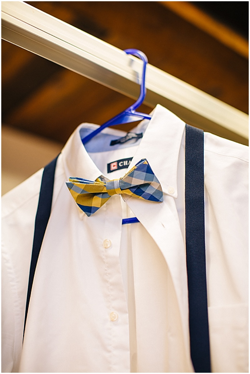 blue and yellow bow tie
