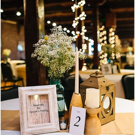 burlap wedding reception decor