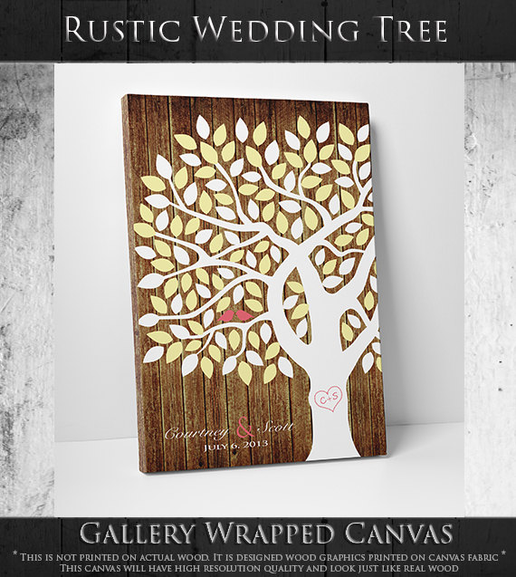 faux wood canvas tree guest book