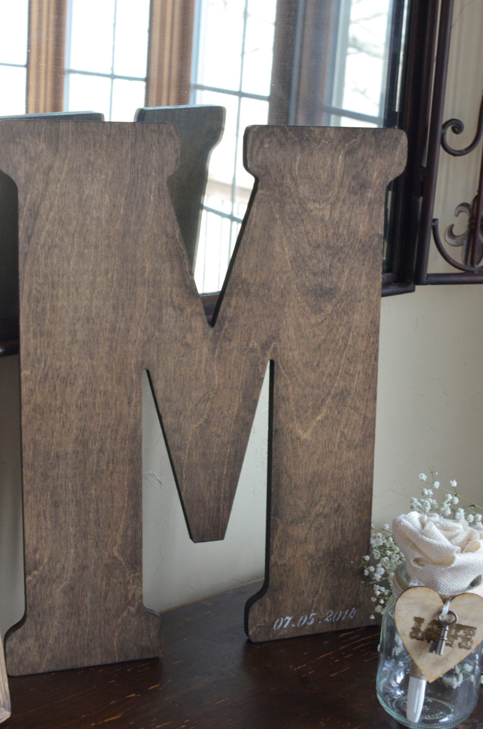 Large Wooden Letter Guest Book by BurlapandLinenCo on Etsy