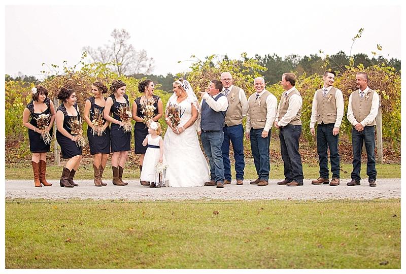 navy and khaki wedding attire