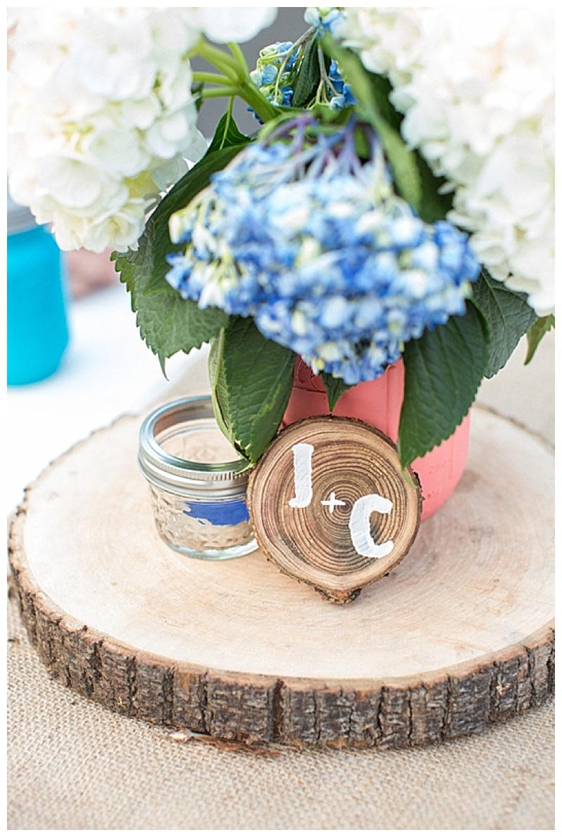 wood disc wedding reception decor