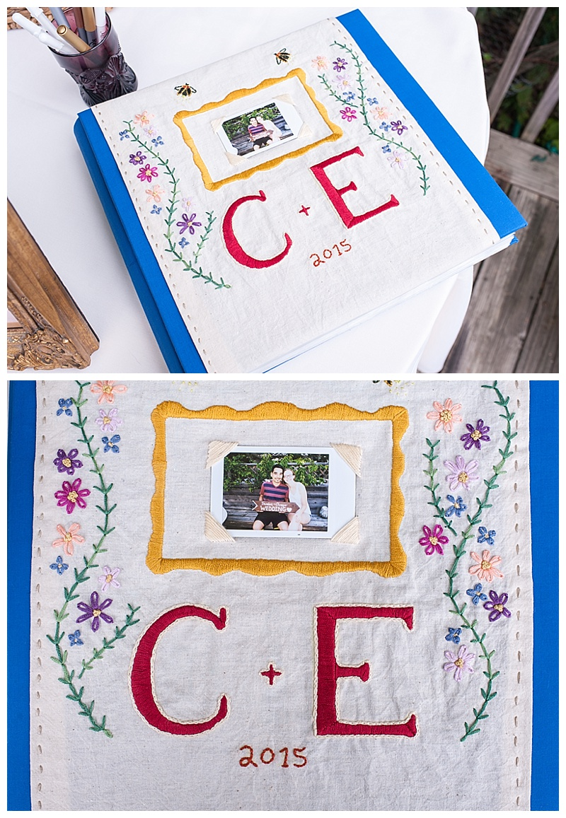 embroidered guest book