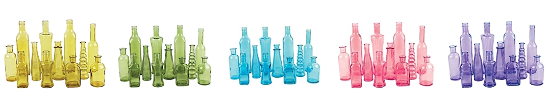 colored bottles centerpieces - wedding supplies from Sam's Club