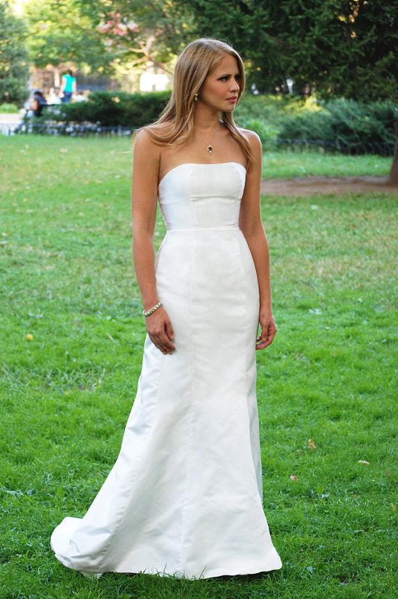 Simple Strapless Etsy Wedding Dress