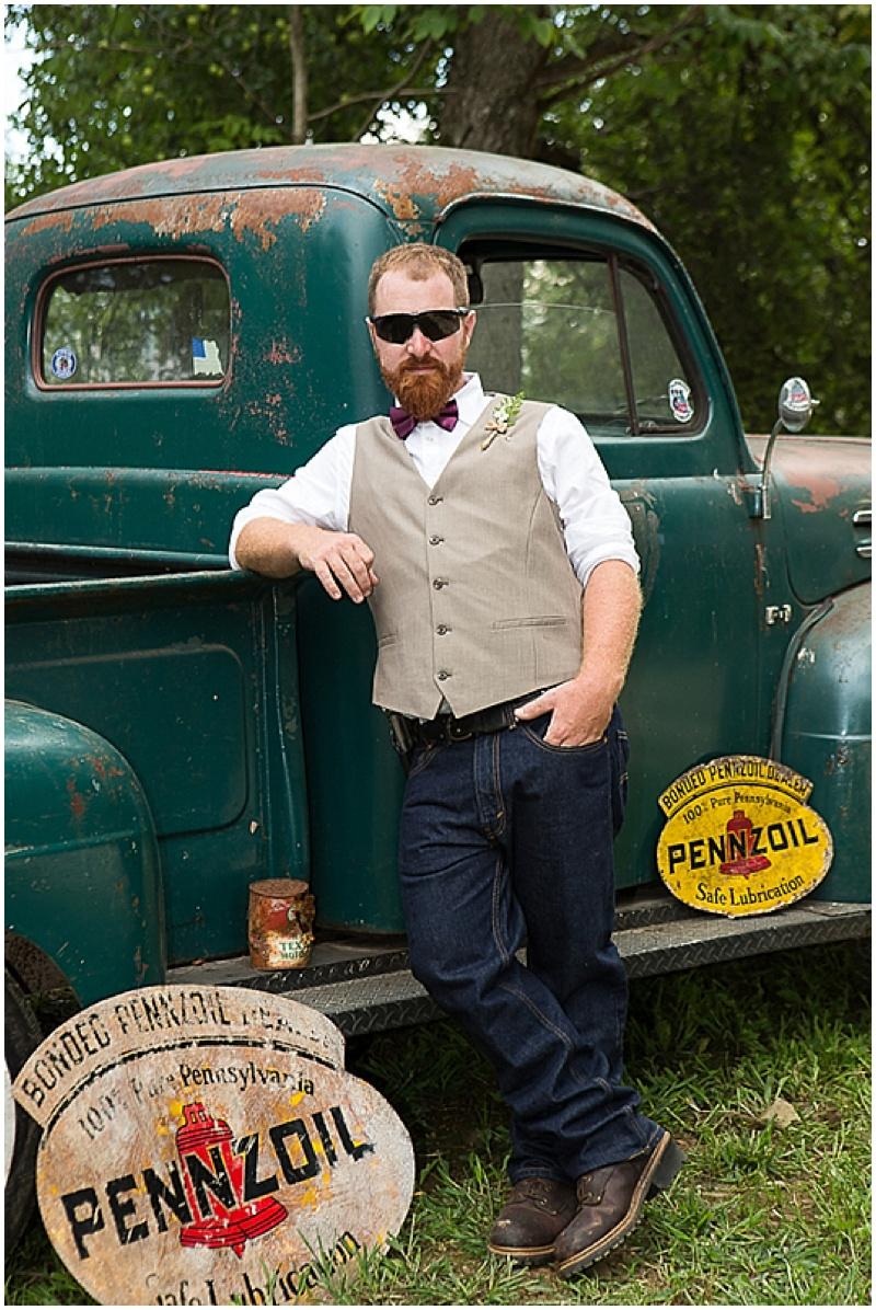 khaki vest and denim groom attire