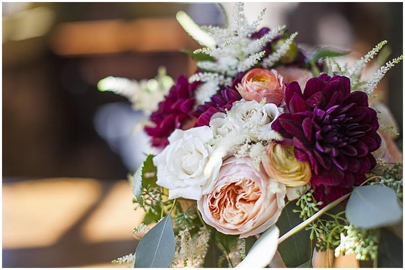 burgundy, white and peach bouquet